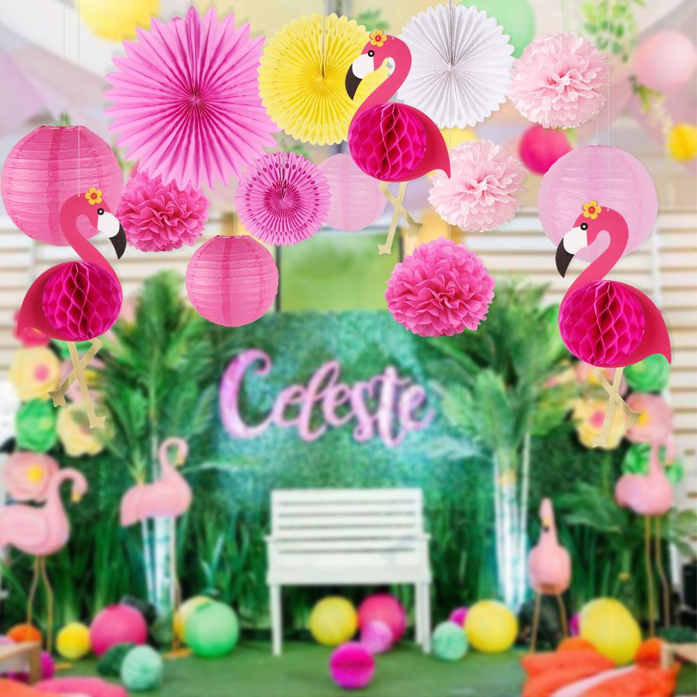 HUIRAN Pink Flamingo Party Decor Flamingo Hawaii Summer Tropical Party Supplies Pineapple Flamingo Birthday Party Decor Girl
