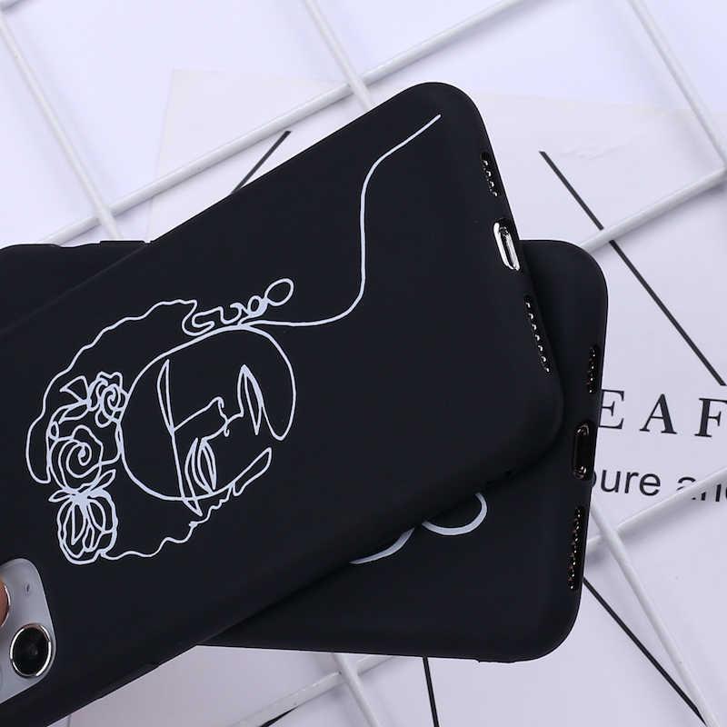 Elegante beleza curvada linha telefone capa para iphone 11 pro max x xs xr max 7 8 7 plus 8 mais 6 s se silicone macio doces caso fundas