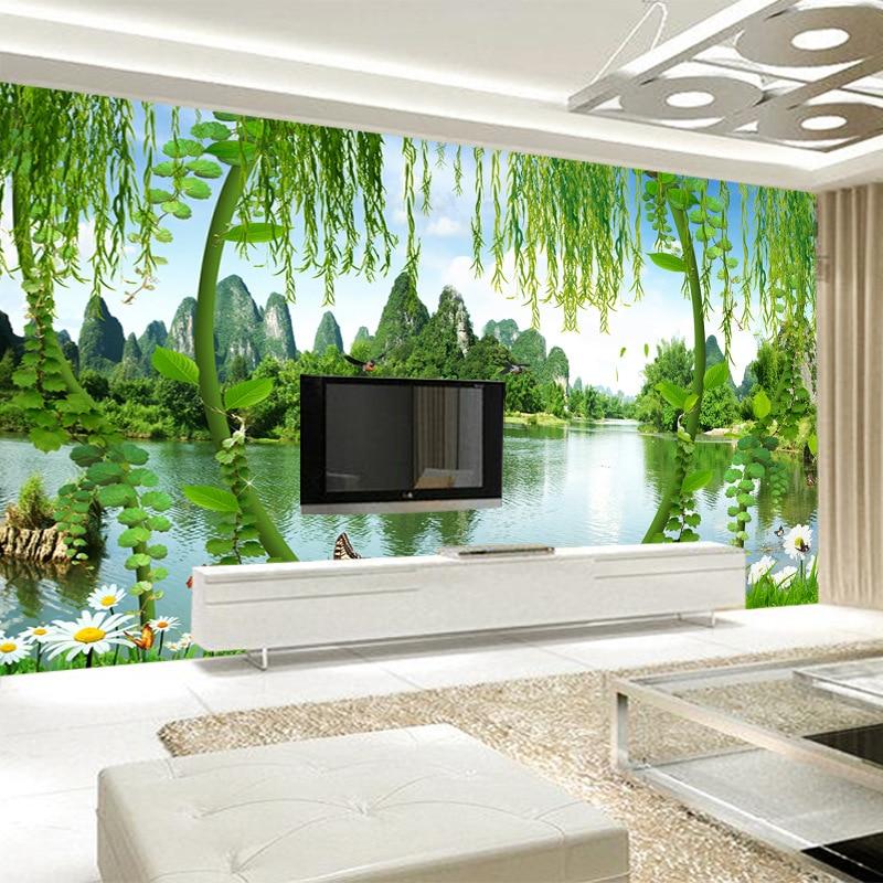 Hotel Wallpaper Cool Restaurant Wallpaper Modern Minimalist 3D Chinese Style Landscape Scenery TV Backdrop Mural