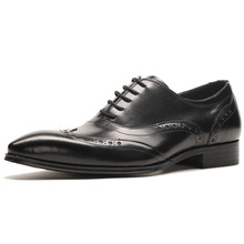 Genuine Leather Men Business Shoe Men British Dress Office Formal Shoe Pointed Toe Casual Fashion Brogue Leather Shoes men shoes quality leather dress round toe shoe men brand brogue black business wedding casual shoes