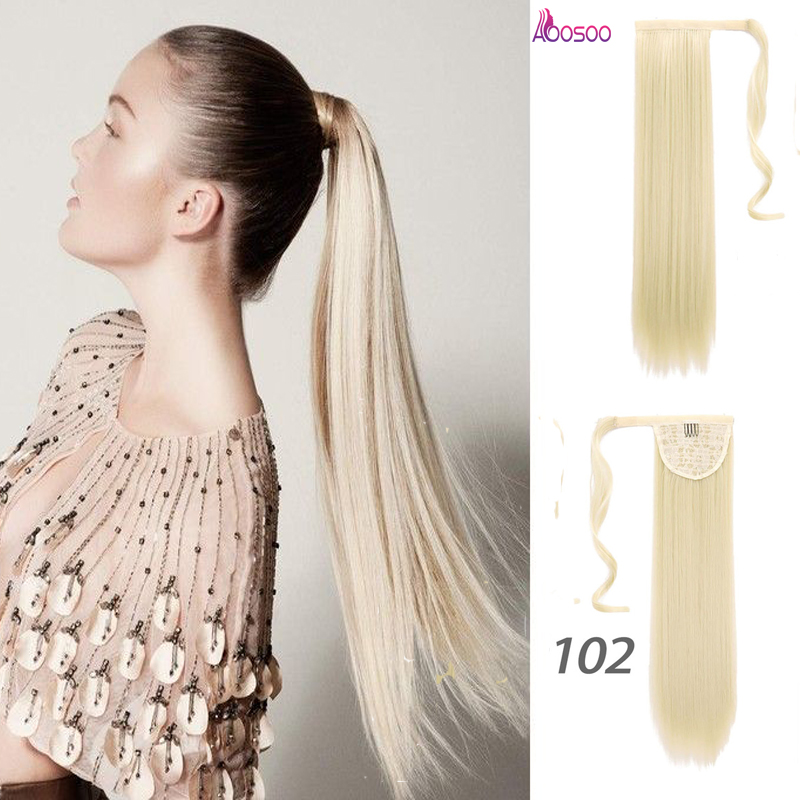 24inches Long Wrap On silky Straight Ponytails for Women Natural Clip In Hair Extension Hairpieces Blonde False Hair   headwear