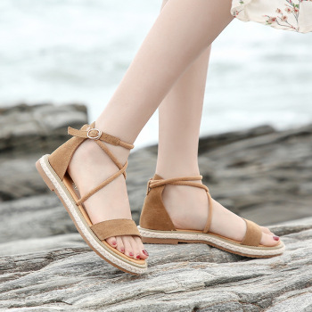2020 Summer New Fashion Women Sandals Open Toe Buckle Sandals Ladies Casual Beach Sandals Comfortable Simple Flat Sandals Leather Bag