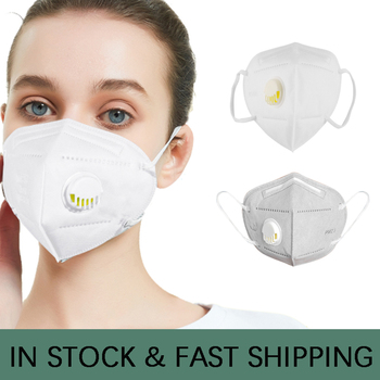 white gray KN95 Mask With Valve Anti haze Dust proof Particles Activated Carbon Prevention PM2.5 multilayer filter N95 Mask FFP3