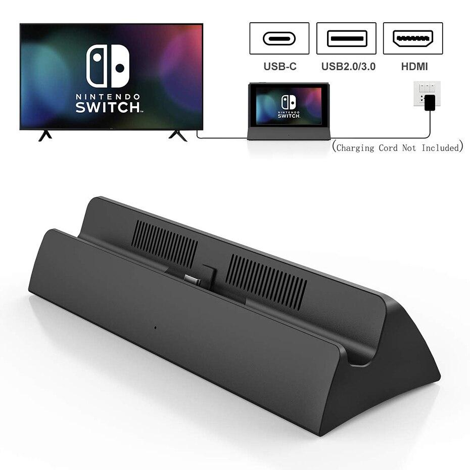 Portátil para Nintendo Switch com tipo c para Hdmi Adaptador de tv Vogek Estação Doca 2.0 Carregamento Docking Playstand Carregador Usb 3.0