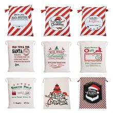Год подарок Санта-Клауса Персонализированные большой мешок Санта-Клауса на заказ рождественские холщовые подарочные сумки на шнурке из хлопка Санта-Клауса