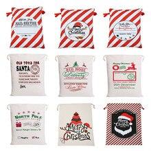 2020 New Year Gift Santa Sacks Large Santa Claus Bag Christmas Canvas Gift Bags Drawstring Cotton Santa Party Supplies