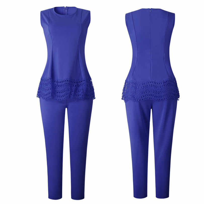 Summer tracksuit OL Work Women Set Lace Top+Pants Lady outfit fashion sexy two pieces suits casual party Overalls Jumpsuits