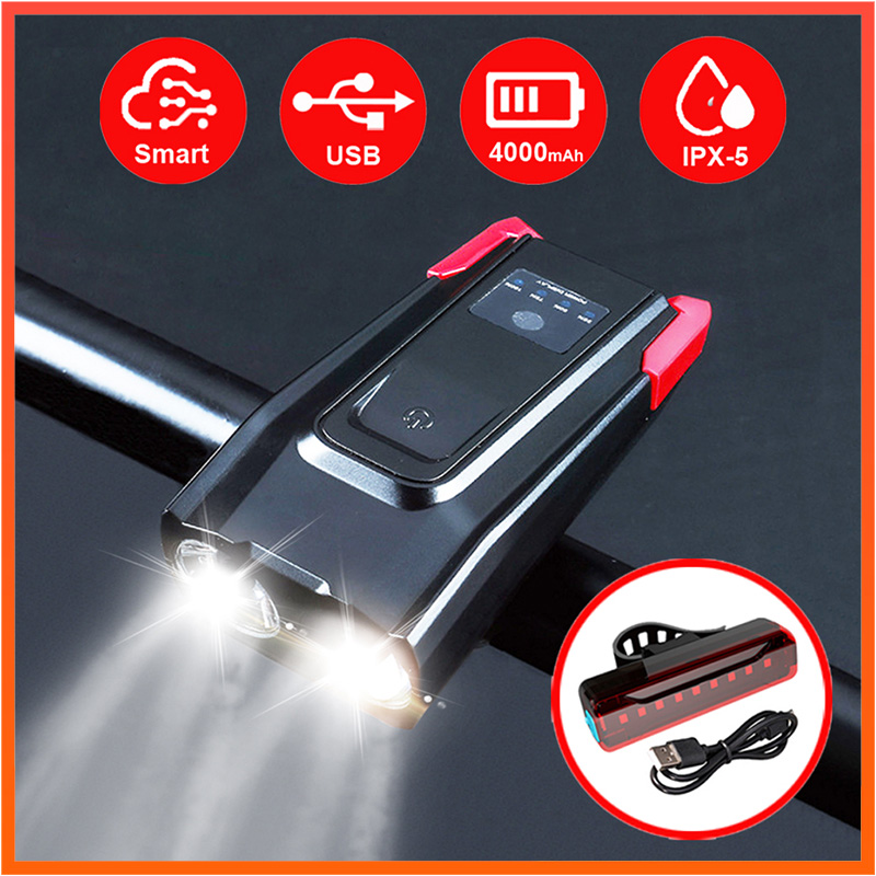 Smart Bike Light USB Rechargeable LED Bicycle Front Lamp Real 800 Lumen Rear Light Set With Bell 120dB Waterproof  T6 Headlight
