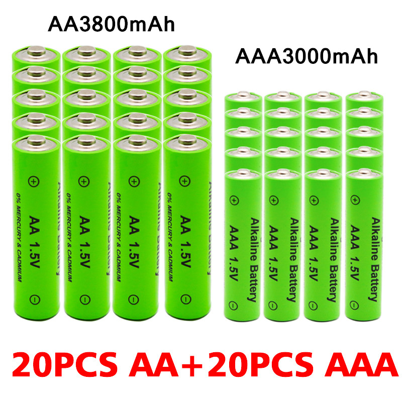 AA + AAA 100% new rechargeable AA battery 1.5V AAA Alkaline 3000-3800mAh flashlight toys watch MP3 player replace Ni-Mh battery(China)