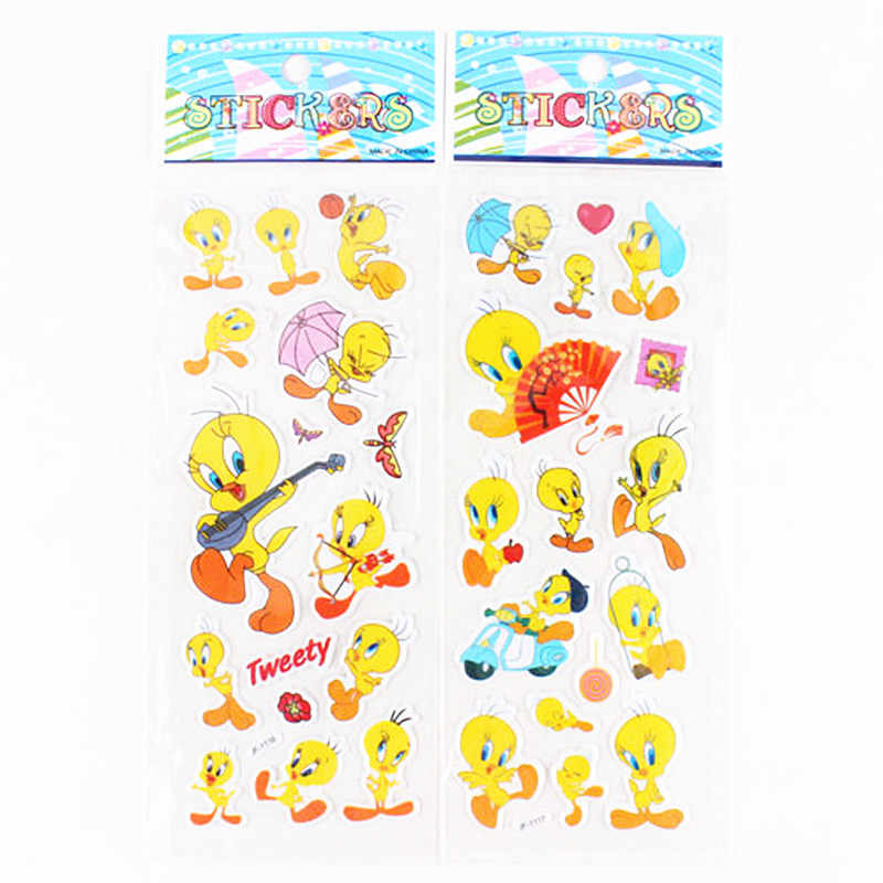 6 çarşaf çocuk karikatür Donald ördek sarı Tweety kuş kabarcık çıkartmalar oyuncak sevimli bebek 3d sticker laptop için araba kaykay