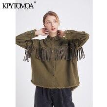 Женская джинсовая куртка, винтажная стильная Свободная куртка с бахромой и бисером, модная верхняя одежда с длинным рукавом и потертостями, 2020