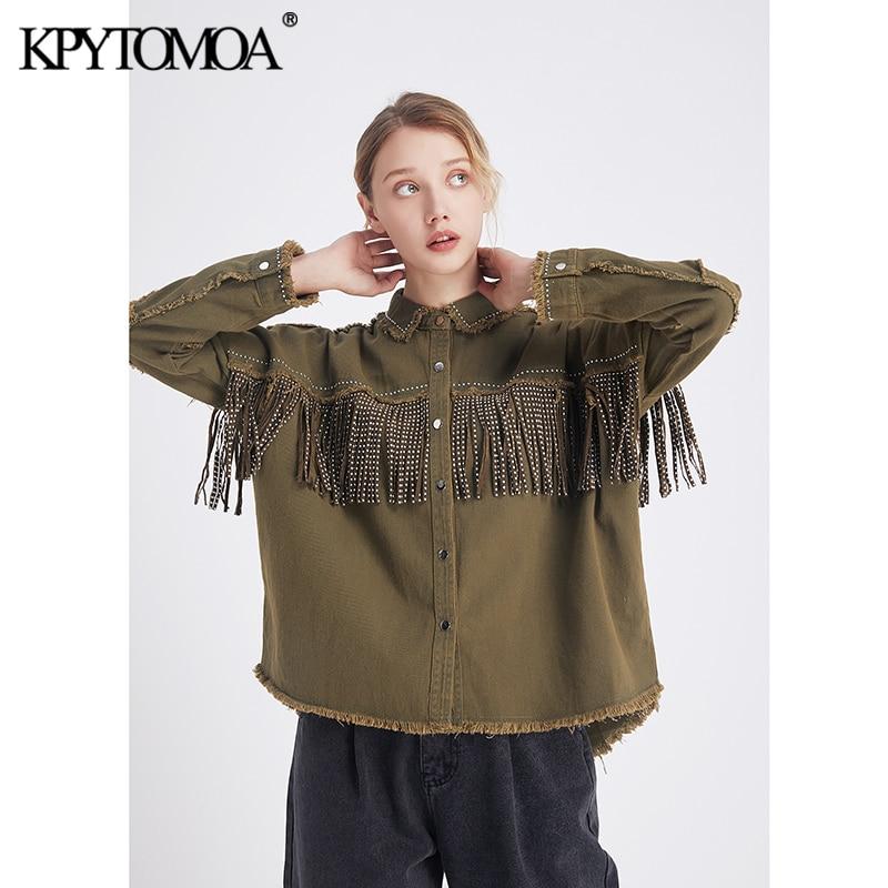 Vintage Stylish Fringe Beaded Loose Denim Jacket Coat Women 2020 Fashion Long Sleeve Frayed Trim Ladies Outerwear Chaqueta Mujer(China)