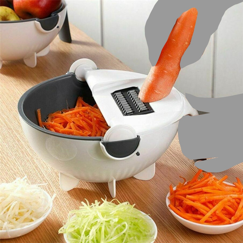 Magic Rotate The Vegetable Cutter With Drain Basket Multi-Functional Kitchen Veggie Fruit Shredder Grater Slicer