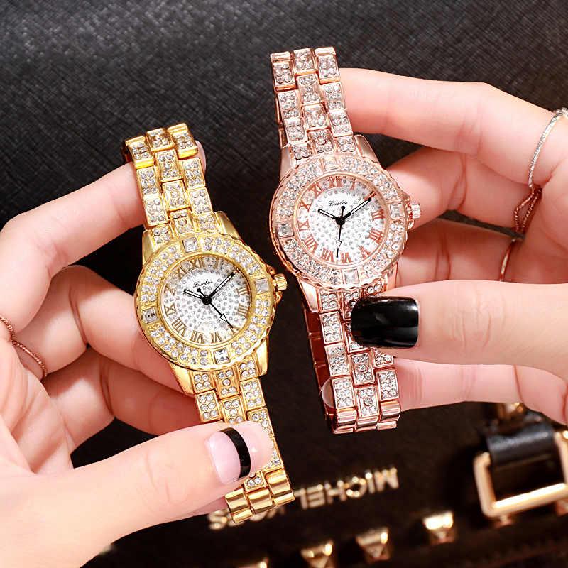 נשים שעוני יוקרה יהלומי קוורץ אישה שעון האופנה Creative שעוני יד נשים שעון יד פשוט גבירותיי נקבה שעון