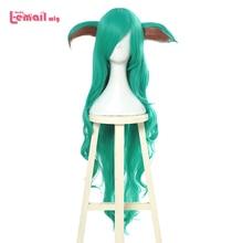 "L דוא""ל פאה LoL כוכב שומרים Soraka קוספליי פאות משחק ארוך ירוק גל פאת קוספליי ליל כל הקדושים עמיד בחום סינטטי שיער"
