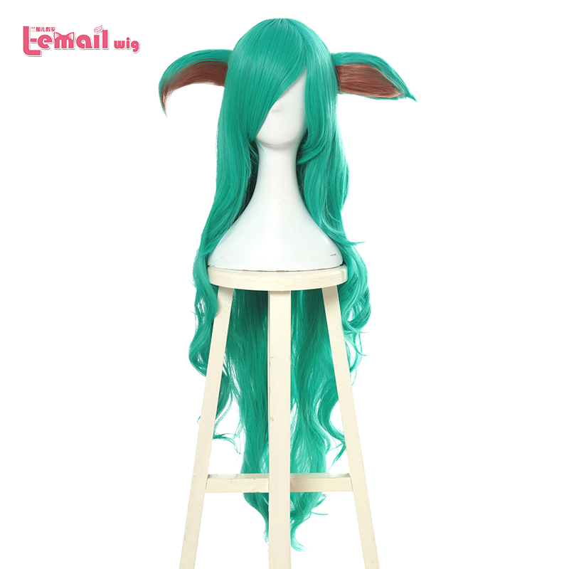 L-email Wig LoL Star Guardians Soraka Cosplay Wigs Game Long Green Wave Cosplay Wig Halloween Heat Resistant Synthetic Hair