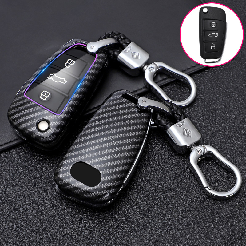 ABS Carbon Fiber Car <font><b>Remote</b></font> <font><b>Key</b></font> Case Cover For <font><b>Audi</b></font> A1 A3 A4 A5 <font><b>A6</b></font> A7 A8 <font><b>C5</b></font> C6 Q3 Q7 S3 TT <font><b>Key</b></font> Shell Fob Car Styling Accessories image