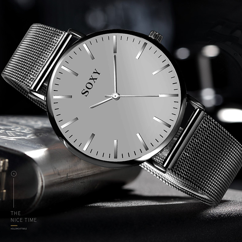 Men's Watch SOXY Brand Deluxe Quartz Clock Simple Dial Stainless Steel Strap Watch For Men Relogio Masculino Zegarek Meski
