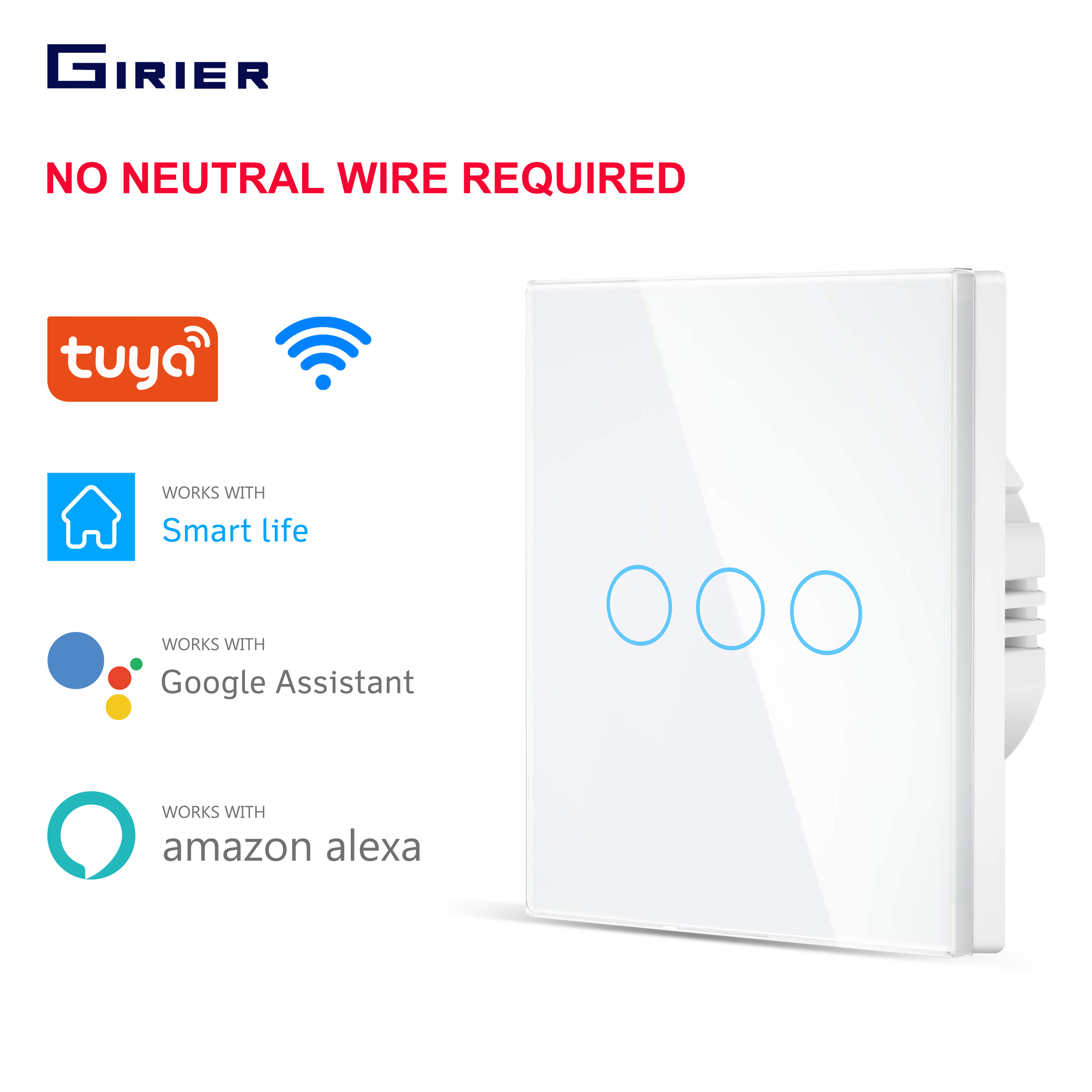 Smart Wifi Touch Light Switch 220V No Neutral Wire Required Wall Switch EU 1 2 3Gang Smart Home Compatibl with Alexa Google Home(China)