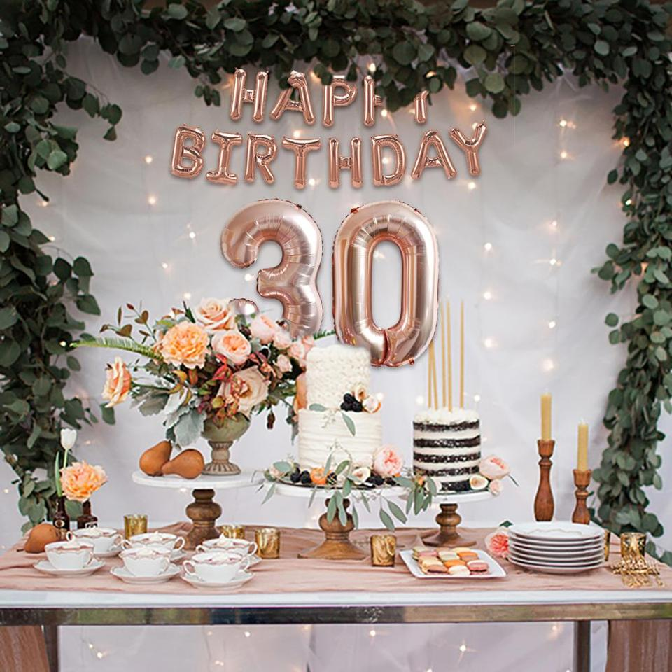 Qifu Rose Gold 30th Birthday Decor Happy Birthday Party Decorations Adult 30 Birthday Tableware Banner Birthday Party Supplies Party Diy Decorations Aliexpress