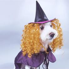 NACOCO Dog Halloween Wizard Hat Cat Cap Pet Costume Cloak with Necromancer Accessories Wig Funny for Dogs Cats цена и фото