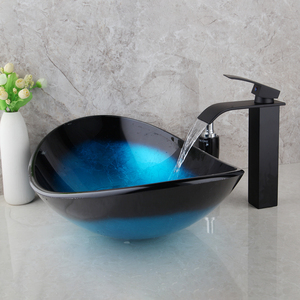 Image 5 - Torayvino Bathroom Wash Basin set lavabo Sink Tempered Glass Hand Painted Waterfall Taps Brass black Faucet Mixer sink Tap Set