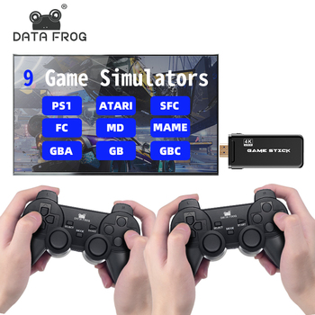 DATA FROG Game Console With 2.4G Wireless Controller HDMI Video Game Console 600 Classic Games For GBA Family TV Retro Game недорого
