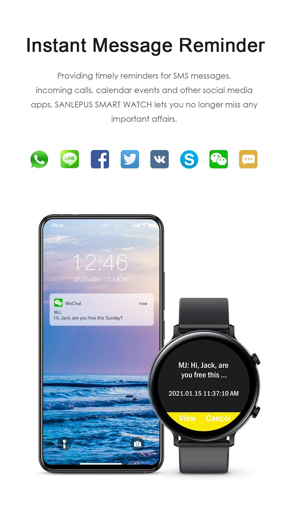 H006d02d96e2a490c8c142598d2b8873c2 SANLEPUS 2021 Smart Watch Dial Calls Men Women Waterproof Smartwatch ECG PPG Fitness Bracelet Band For Android Apple Xiaomi