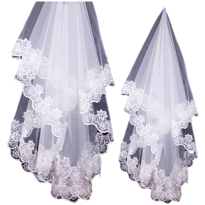 One-tier Stylish / Lace Applique Edge Wedding Veil Fingertip Veils With Appliques 39.37 In (100cm) Lace / Tulle