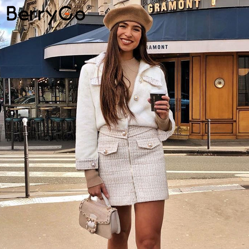 BerryGo Tweed Two-piece Suits Women Set Outfit Autumn Winter Suit Set Patchwork Single Breasted Office Ladies Skirt Suits Female