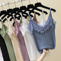 Lace Vest WOMEN'S Tank Top 2019 Spring And Summer Korean style Slim Fit Underwear Outer Wear Slimming Base Shirt Fashion Tops