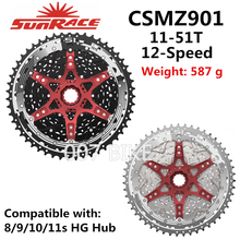 SunRace Cassette de 12 velocidades, accesorio CSMZ901 CSMZ601, toda la serie, 11 51T CSMZ903, volante 12 S piñón, compatible con Shimano SRAM