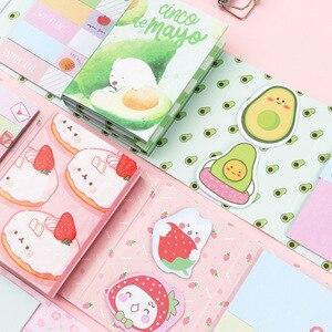 Kawaii słodkie owoce cytryna brzoskwinia awokado ciasto 6 składany notatnik N razy kartki samoprzylepne notatnik notatnik zakładka prezent papiernicze