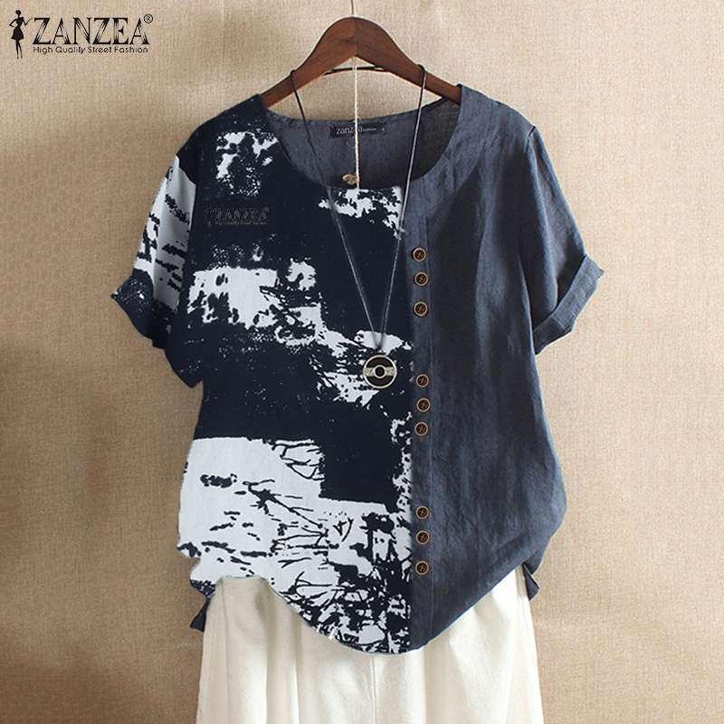 2019 Plus Size ZANZEA Summer Shirts Women Casual Short Sleeve Printed Patchwork Cotton Tunic Tops Shirts Female Blouse Blusas