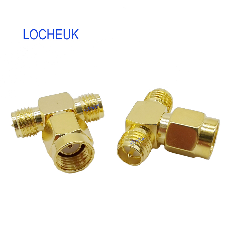 SMA RF Adapter RP-Male to Dual RP-Female Male pin T Type Coaxial Connector RP SMA Male to Two RP SMA Female Splitter SMA Adapter