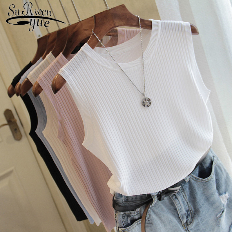 Knitted-Vests Top-O-Neck Thin Tops Moda Spring Solid-Tank Female Casual Summer Women