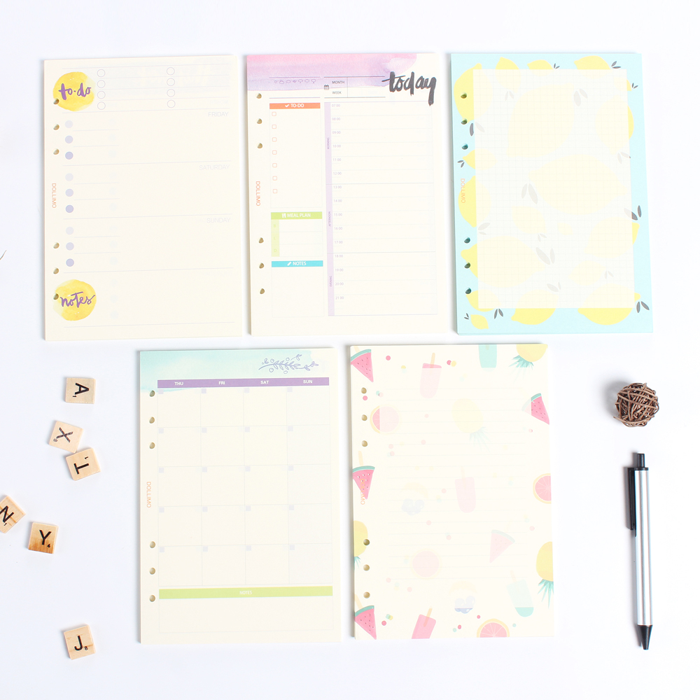 Cartoon 6 Holes Refiling Inner Paper Core For Spiral Notebooks:daily Weekly Monthly Planner Grid Line Replacement Paper A5 A6