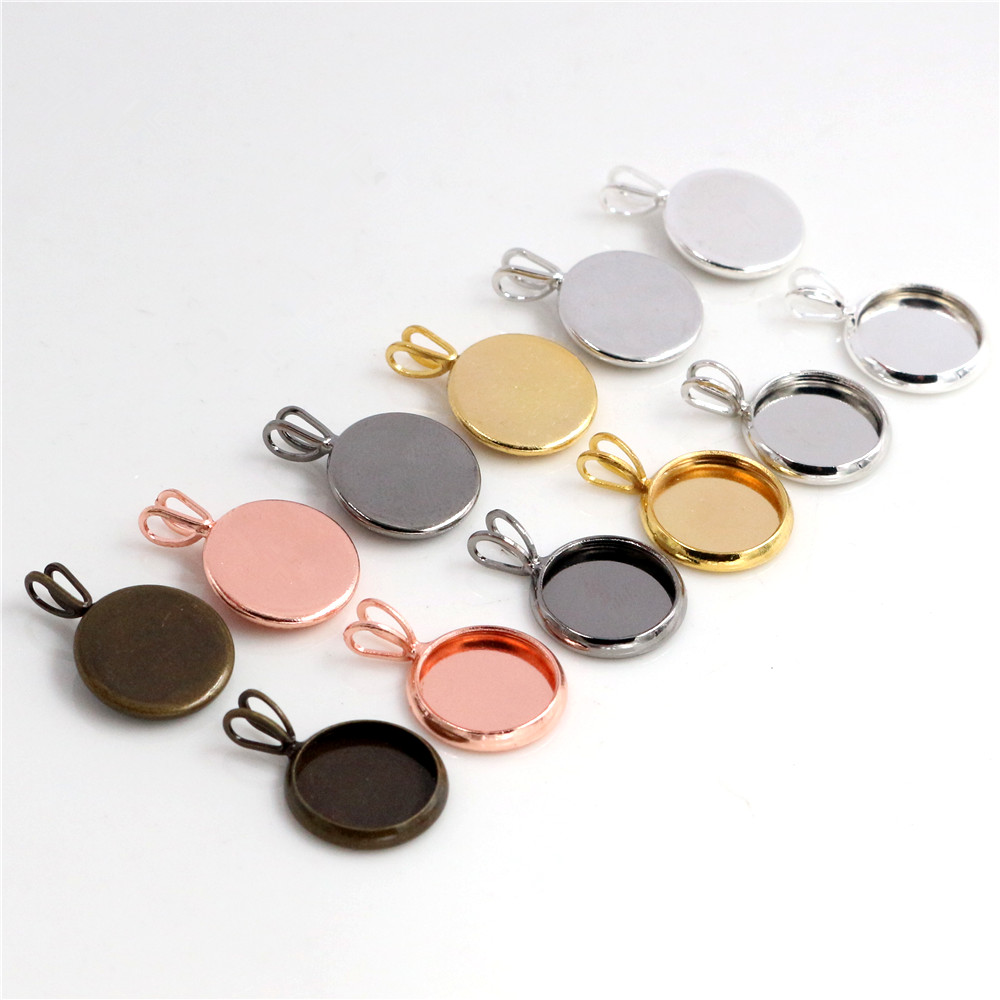 10mm 20pcs Brass Material 6 Colors Plated V Hanging Style Cameo Setting Base Cabochon Setting Connector High Quality