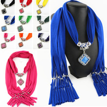Quadrilateral ancient silver hollow jewelry scarf polyester solid color tassel pendant diamond resin