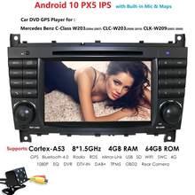 Autoradio 7 pouces Android 10 PX5 IPS 8 Core 2 Din pour Mercedes Benz classe C W203 2004-2007 CLC W203 2008-2010 GPS Navigation WIFI