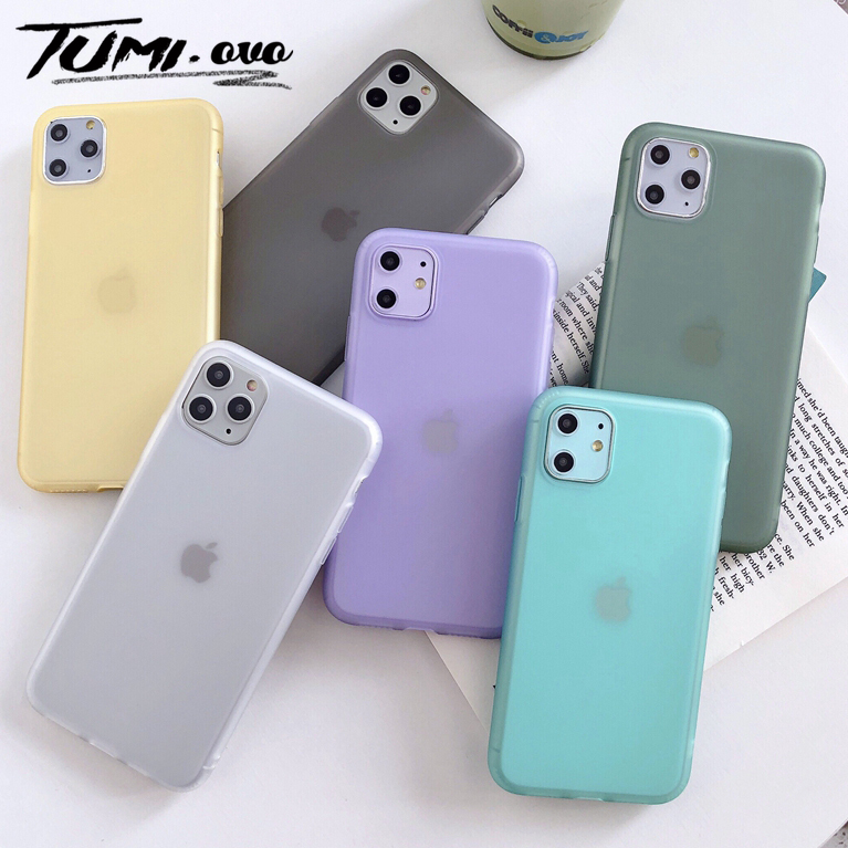 Original Half Transparent <font><b>Silicone</b></font> Phone Cover <font><b>Case</b></font> For <font><b>iPhone</b></font> 6 <font><b>6s</b></font> 7 8 Plus Candy Color Soft <font><b>Case</b></font> For <font><b>iPhone</b></font> Xr XS Max X 11 Pro image
