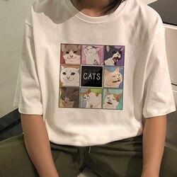 Camisas casuais de desenhos animados de gato, harajuku para mulheres, álbum de manga curta vintage, punk