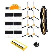 18 pçs escova lateral principal quadro da escova capa rodízio filtro de roda para ecovacs deebot 600 601 605 710 n79 n79s aspirador de pó de reposição par