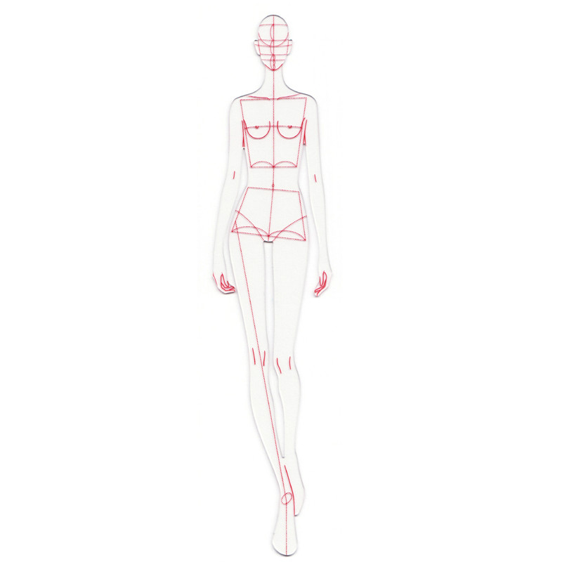 Fashion Ruler Fashion Line Dynamic Walk Drawing Human Dynamic Template for Cloth Rendering Design Ruler Costume Designer image