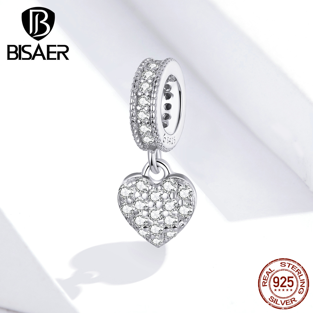 Love Heart Pave Pendant BISAER 925 Sterling Silver Clear Cubic Zircon Heart Charms For Jewelry Making Silver 925 Jewelry EFC211