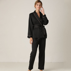 Image 3 - Lisacmvpnel Silk Long Sleeve Trousers Lapel High Archives Pajamas With Belt Solid Color Nightwear