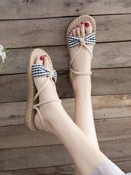 ¡NOVEDAD DE VERANO 2020! Sandalias de mujer de tela a cuadros a juego de color, zapatos casuales de un pedal Con parte inferior plana de estilo wild college