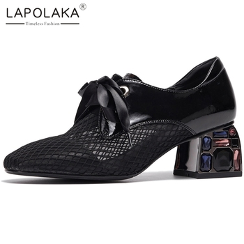 Lapolaka New Arrivals Thick Heels Genuine Leather Lace Up Comfortable Shoes Woman Pumps Female Lace Up Spring Pumps Women