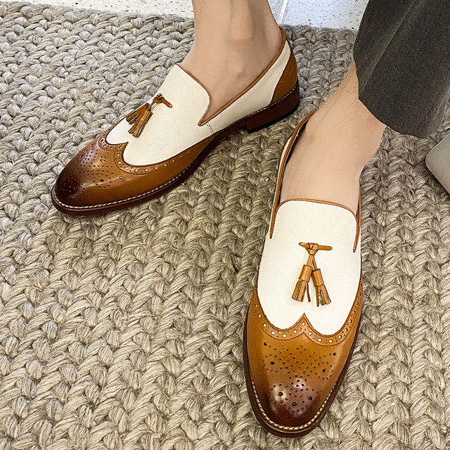 Yomior 2020 New Vintage Men Casual Shoes Formal Dress Wedge Loafers Mixed Colors Leather Loafers Tassel Wedding Brogue Shoes