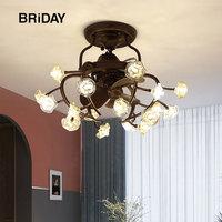 luxury led ceiling fan with lights remote control iron ventilator lamp Silent Motor bedroom decor modern fans 8 lights